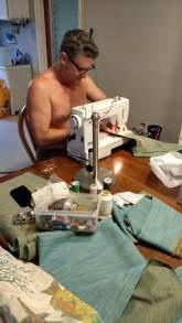 Clark working on upholstery
